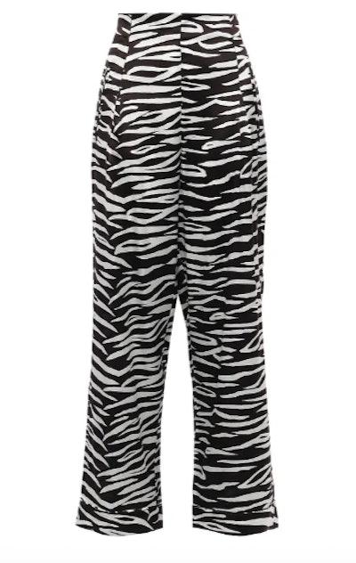 Blakely zebra-print stretch-silk wide-leg pants