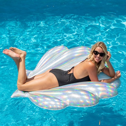PoolCandy Inflatable Holographic Oyster Pool Raft