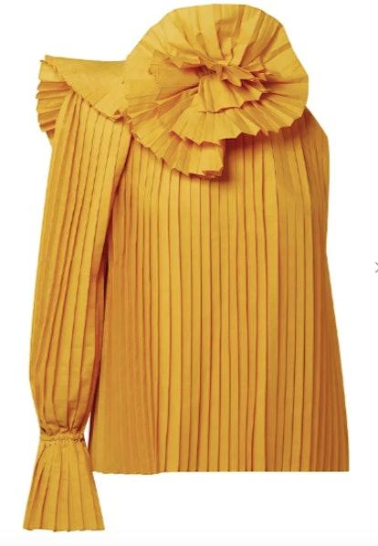 One-shoulder floral-appliquéd pleated poplin blouse