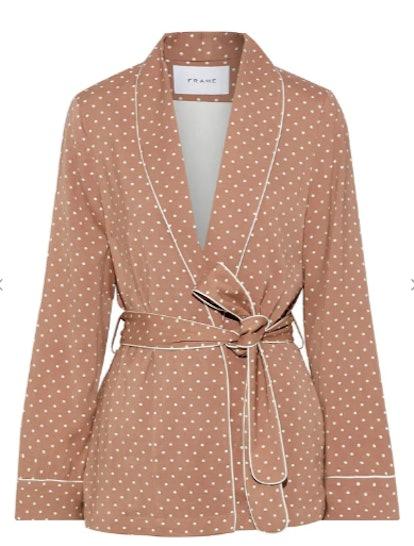 Belted polka-dot cady jacket