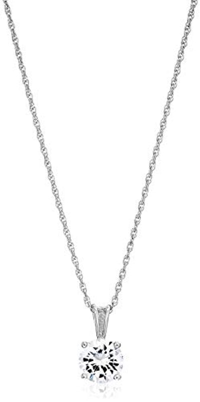 Amazon Essentials Platinum Plated Sterling Silver Cubic Zirconia Round Cut Solitaire Pendant Necklac...
