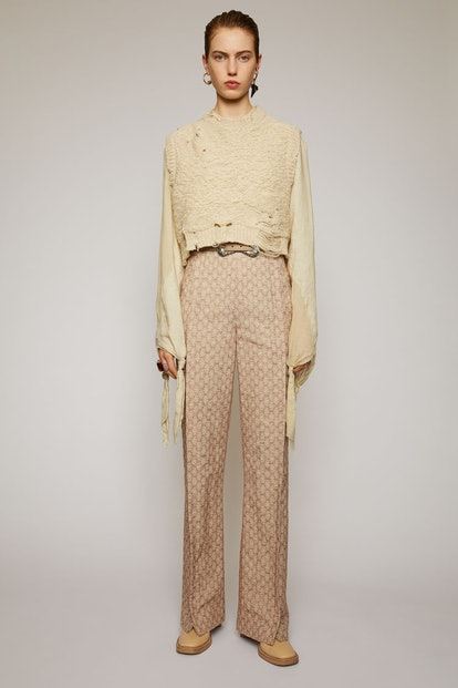 Flared Jacquard Trousers Peach Orange