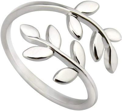ELBLUVF 18k Stainless Steel Silver Adjustable Ring