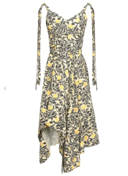 Asymmetric draped printed crepe dress
