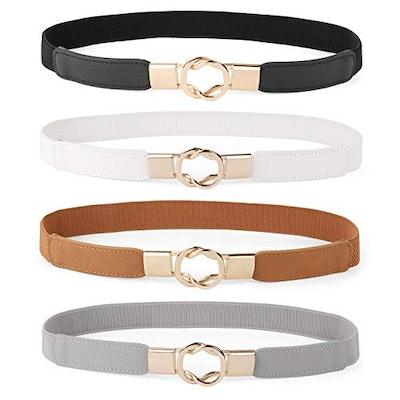 Retro Stretch Ladies Waist Belt Plus Size Set of 4