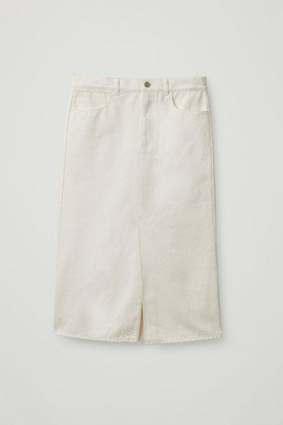 Organic-Cotton Long Denim Skirt