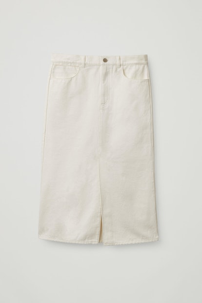 Organic-Cotton Long Denim Skirt