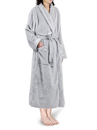 PAVILIA Fleece Robe with Satin Trim