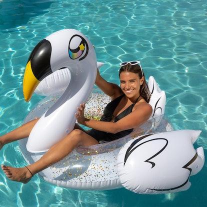 Gold Glitter Swan | Jumbo Pool Tube