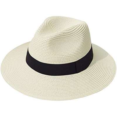 Lanzom Women Wide Brim Straw Panama Roll up Hat
