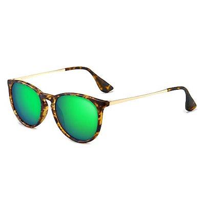 SUNGAIT Vintage Round Sunglasses for Women