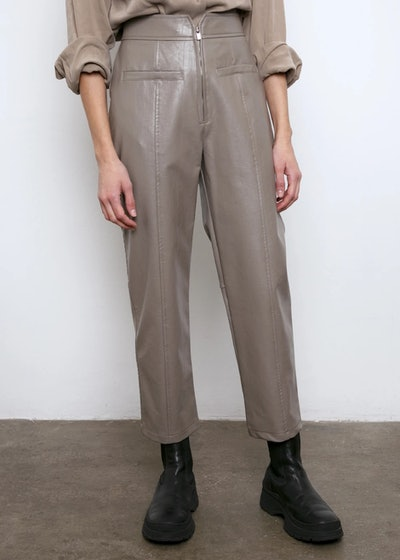 Zip Front Taupe Leather Pants