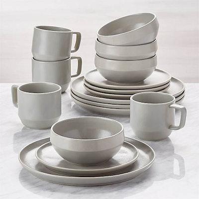 Visto 16-Piece Grey Stoneware Dinnerware Set