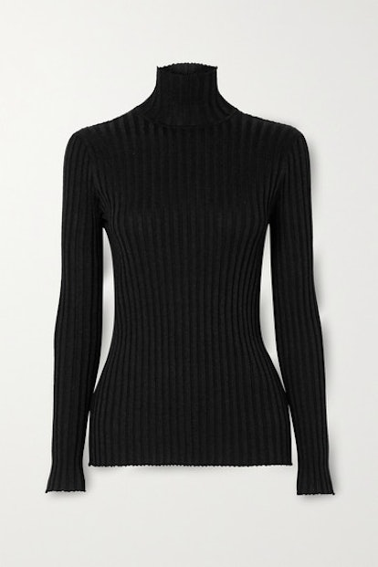 Glittered Ribbed-Knit Turtleneck Sweater