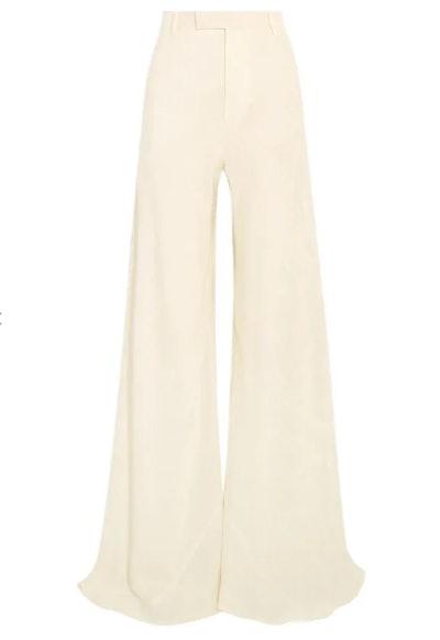 Silk-jacquard wide-leg pants