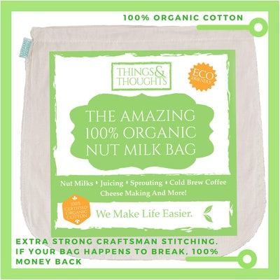 Things & Thoughts The Amazing 100% Organic Nut Milk Bag (12 inch by 12 inch)