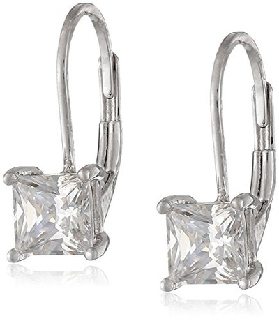 Amazon Essentials Plated Sterling Silver Cubic Zirconia Leverback Earrings