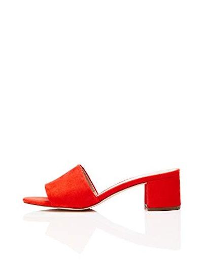 find. Women's Block Heel Mule Open-Toe Sandals,Orange