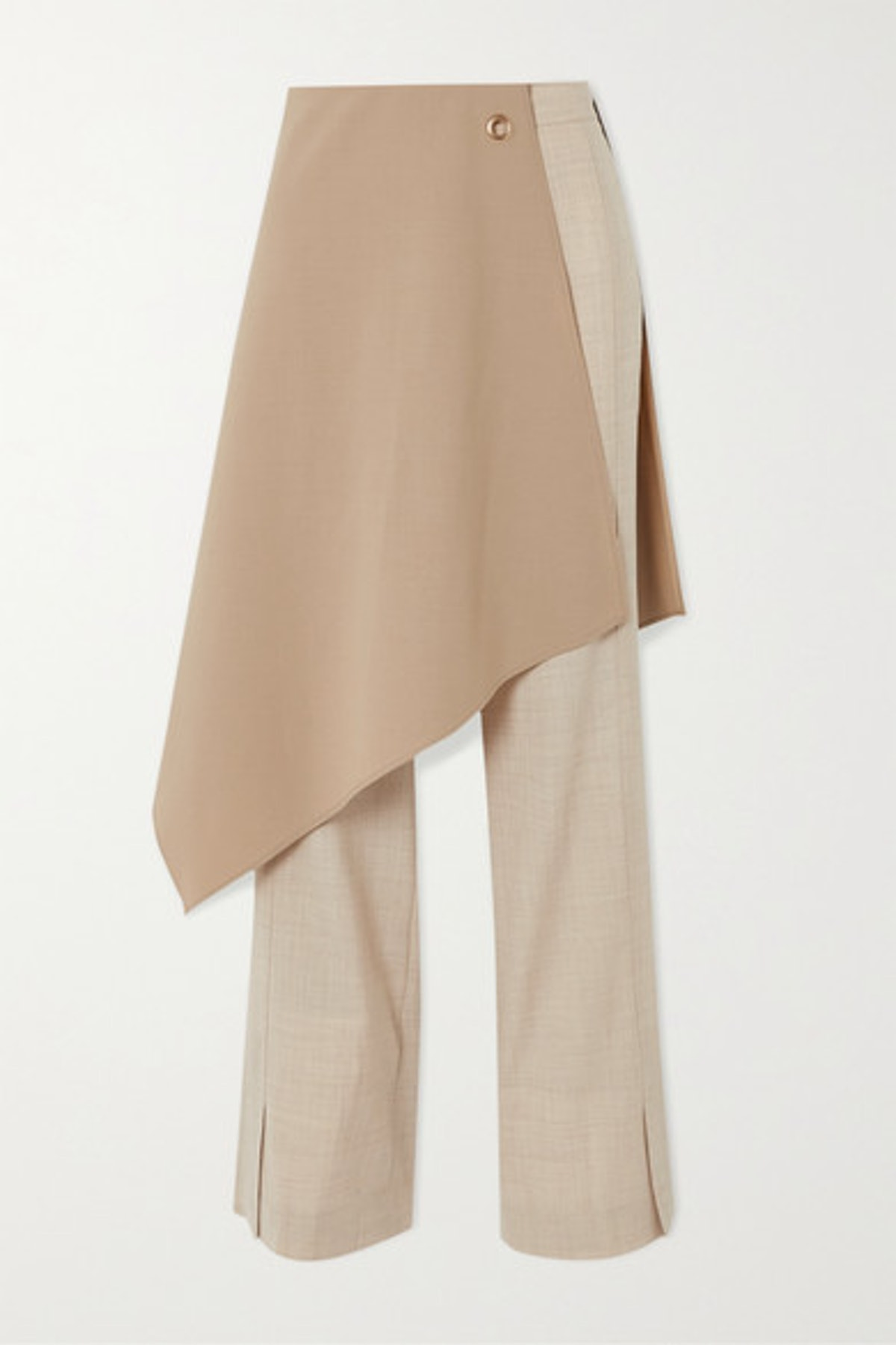 Tina Layered Crepe De Chine-Trimmed Wool Flared Pants