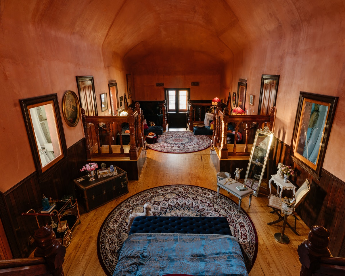 The interior of Lucy the Elephant, now available on Airbnb, has Victorian-style decor.