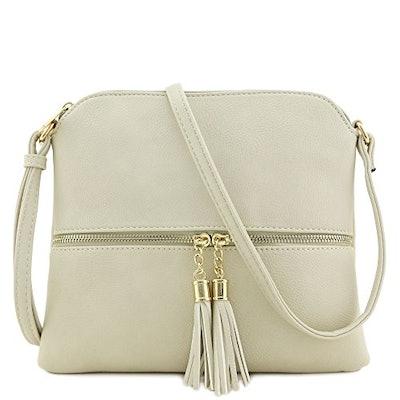 Lightweight Medium Crossbody Bag with Tassel (Beige)