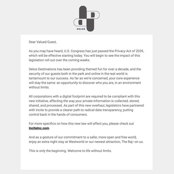 Westworld Season 3 Delos Destinations email