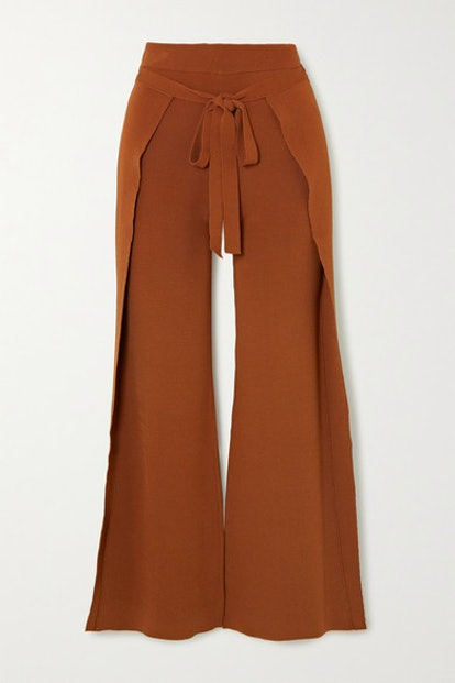 Abigail Tie-Front Layered Knitted Straight-Leg Pants