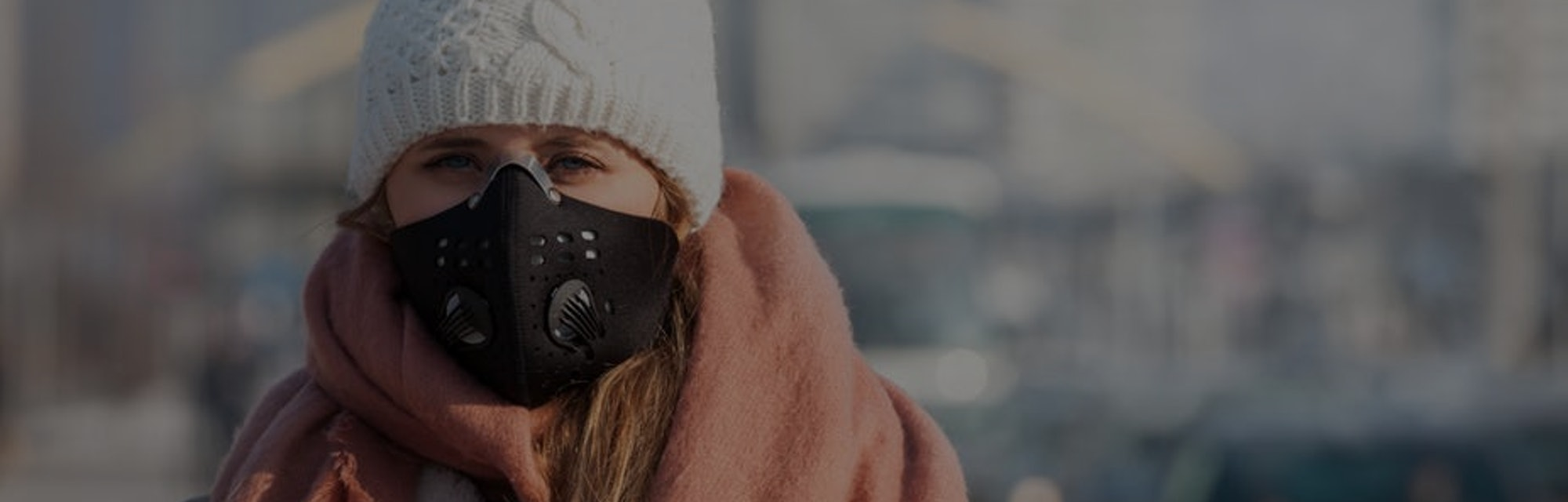 A mask rated N95 or N99 will best protect against pollution particles.