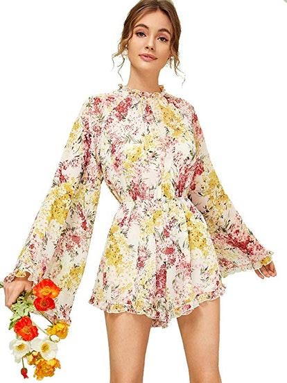 ROMWE Women's Floral Printed Loose Fit Rompers