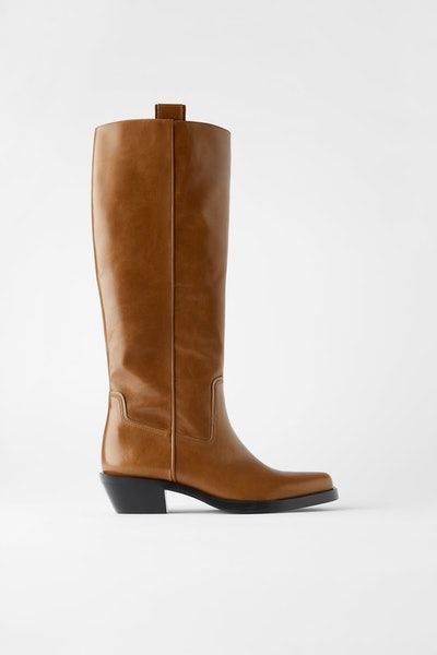 Heeled Leather Square Toe Cowboy Boots
