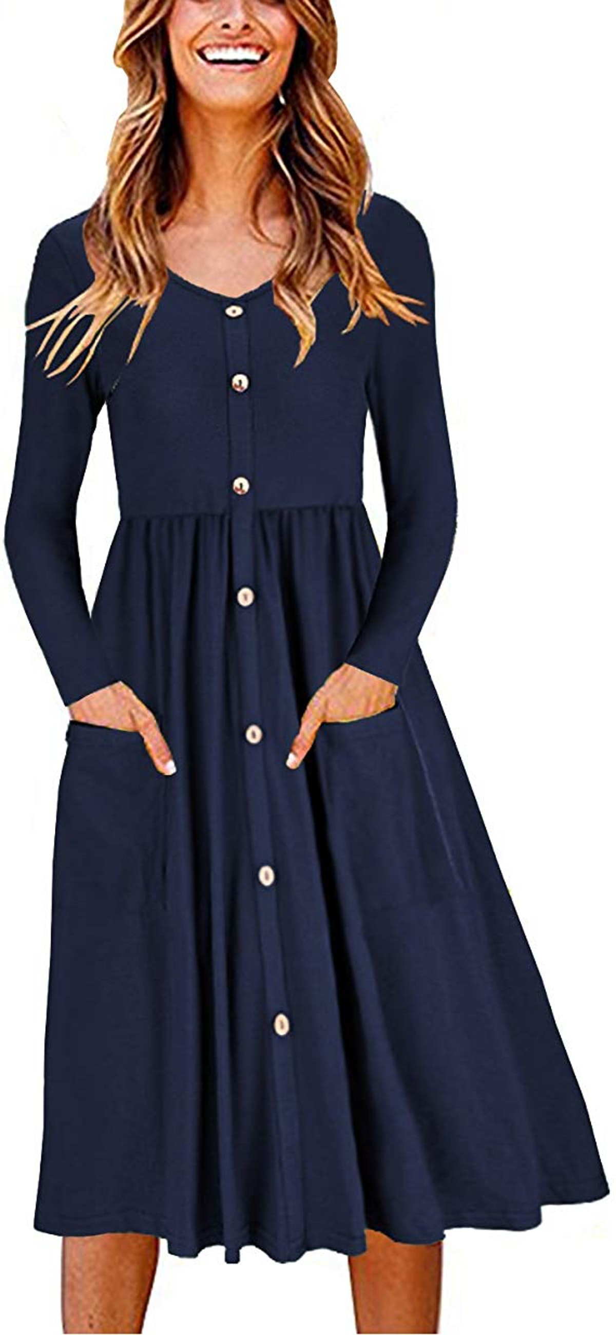 OUGES Women's Long Sleeve Skater Dress