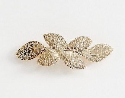 Barette Hair Clip in Gold Leaf Detail