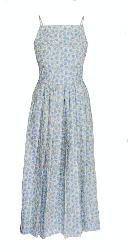 Pleated Dress - Blue Bougainvillea