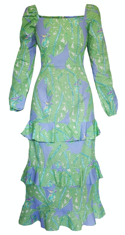 Long Sleeve Three Tiered Ruffle Dress - Banana Leaf/Hummingbird