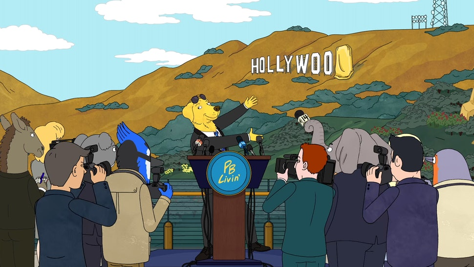 Mr. Peanutbutter (voiced by Paul F. Tompkins) in front of the Hollywoo sign