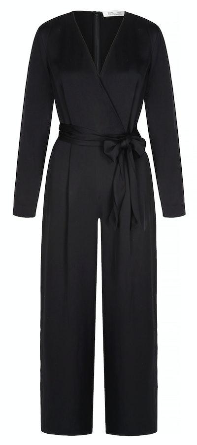 Edith wrap-effect crepe de chine jumpsuit