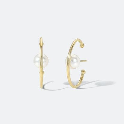 Globe Earrings with White Pearl