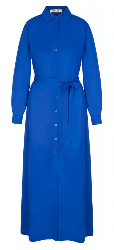 Amina belted crepe de chine maxi shirt dress