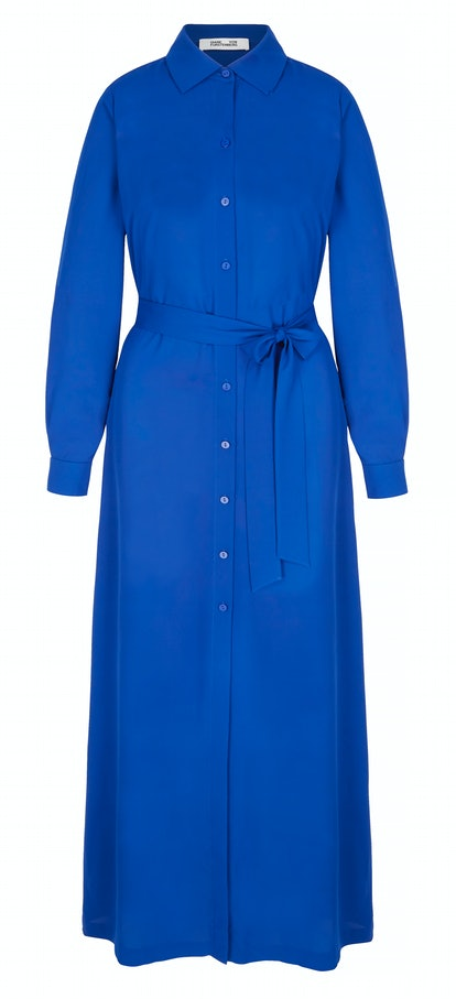 Amina belted crepe de chine maxi shirt dress