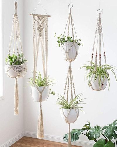 Mkono Macrame Plant Hangers (4-Piece Set)