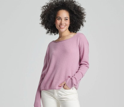 Cashmere Boatneck Sweater Purple Orchid