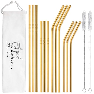 HIWARE Reusable Gold Straws (12-Pack)