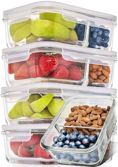 Prep Naturals Glass Meal Prep Containers (Set of 5)