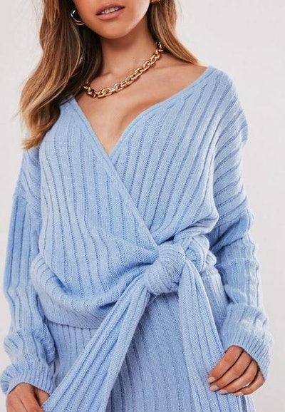 Blue Co Ord Wrap Tie Knitted Jumper