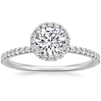 18K White Gold Waverly Diamond Ring (1/2 ct. tw.) with 0.30 Carat Round Diamond