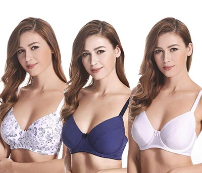 Curve Muse Plus-Size Cotton Unlined Balconette Underwire Bras (3-Pack)