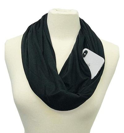 Pop Fashion Infinity Scarf with Zipper Pocket