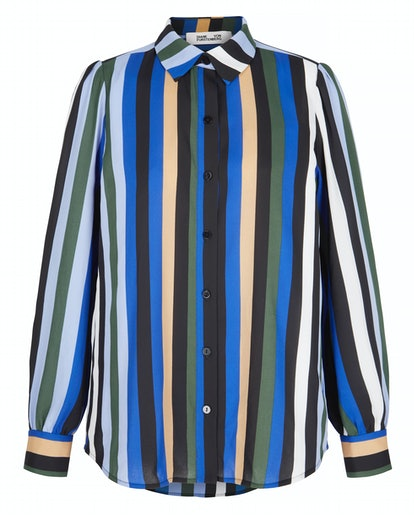 Mariah striped crepe de chine shirt