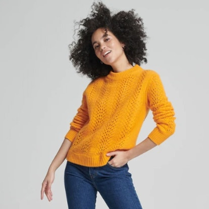 Lace Pointelle Crew Pullover Apricot