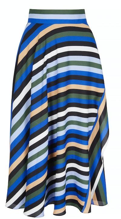 Tilda striped crepe de chine midi wrap skirt